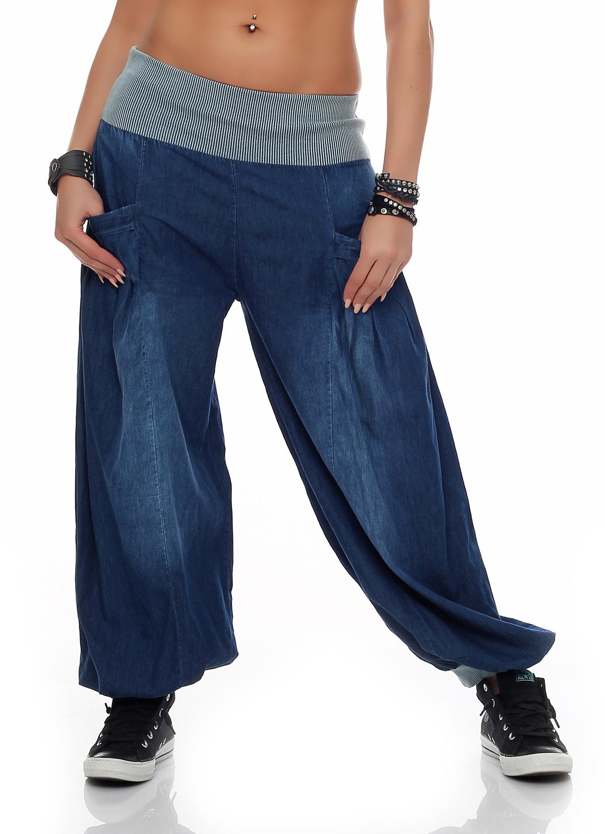 damen haremshose aladinhose pumphose jeans sommerhose weite hose neu bf 0016 ebay. Black Bedroom Furniture Sets. Home Design Ideas