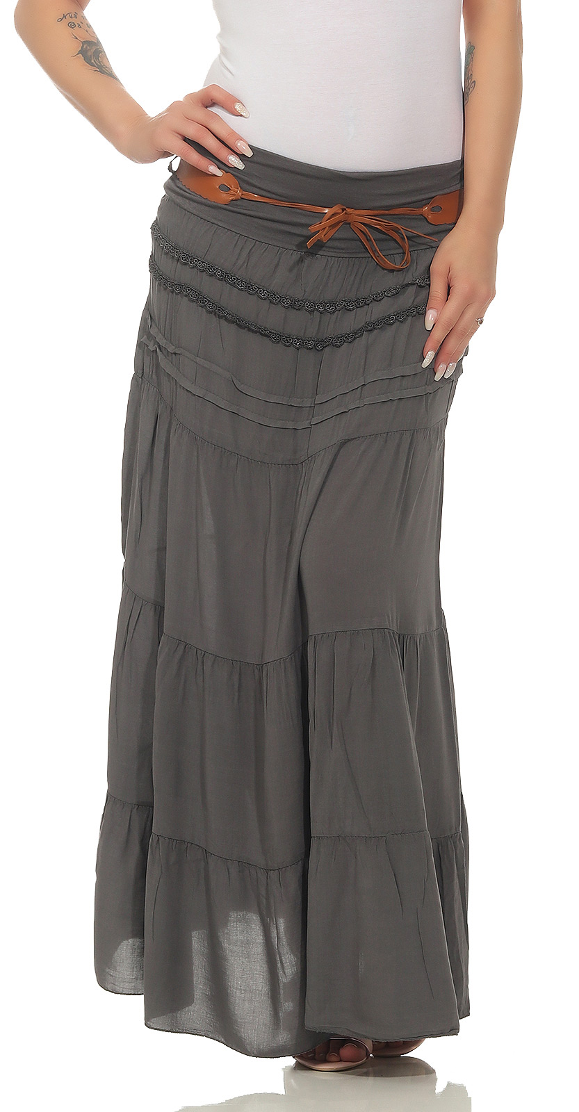 Skirt-Boho-Maxi-Ladies-36-38-40-42-Long-Summer-Bell-Layers-R100