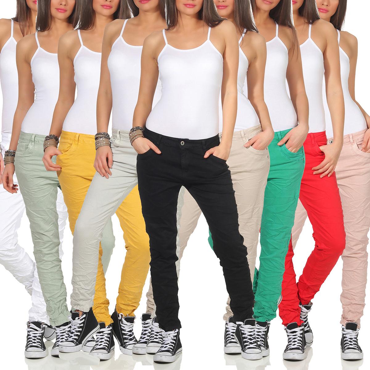 aa0c13f6b9bcb4 Das Bild wird geladen Karostar-Damen-Jeans-Huefthose-Baggy -Pants-Chino-lange-