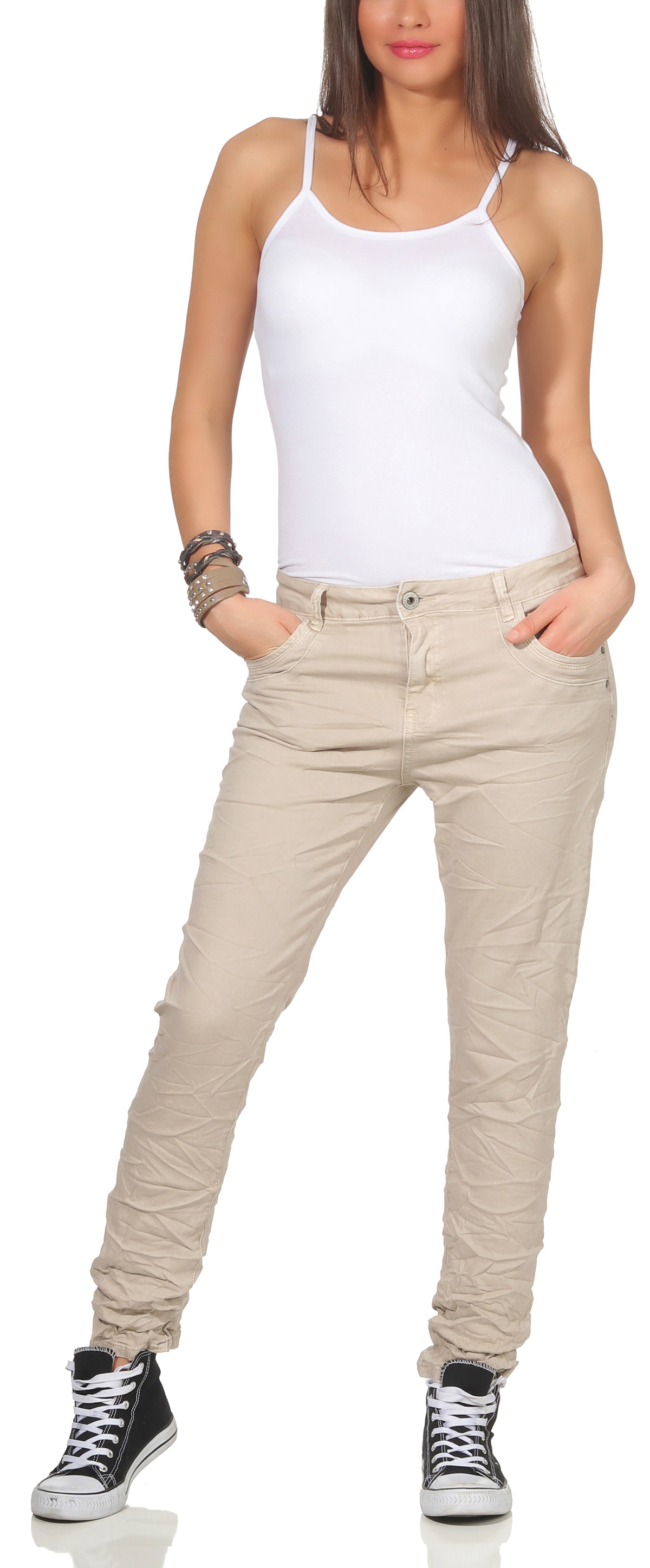 871a69ea506c0e Karostar Damen Jeans Hüfthose Baggy Pants Chino lange Hose Denim ...