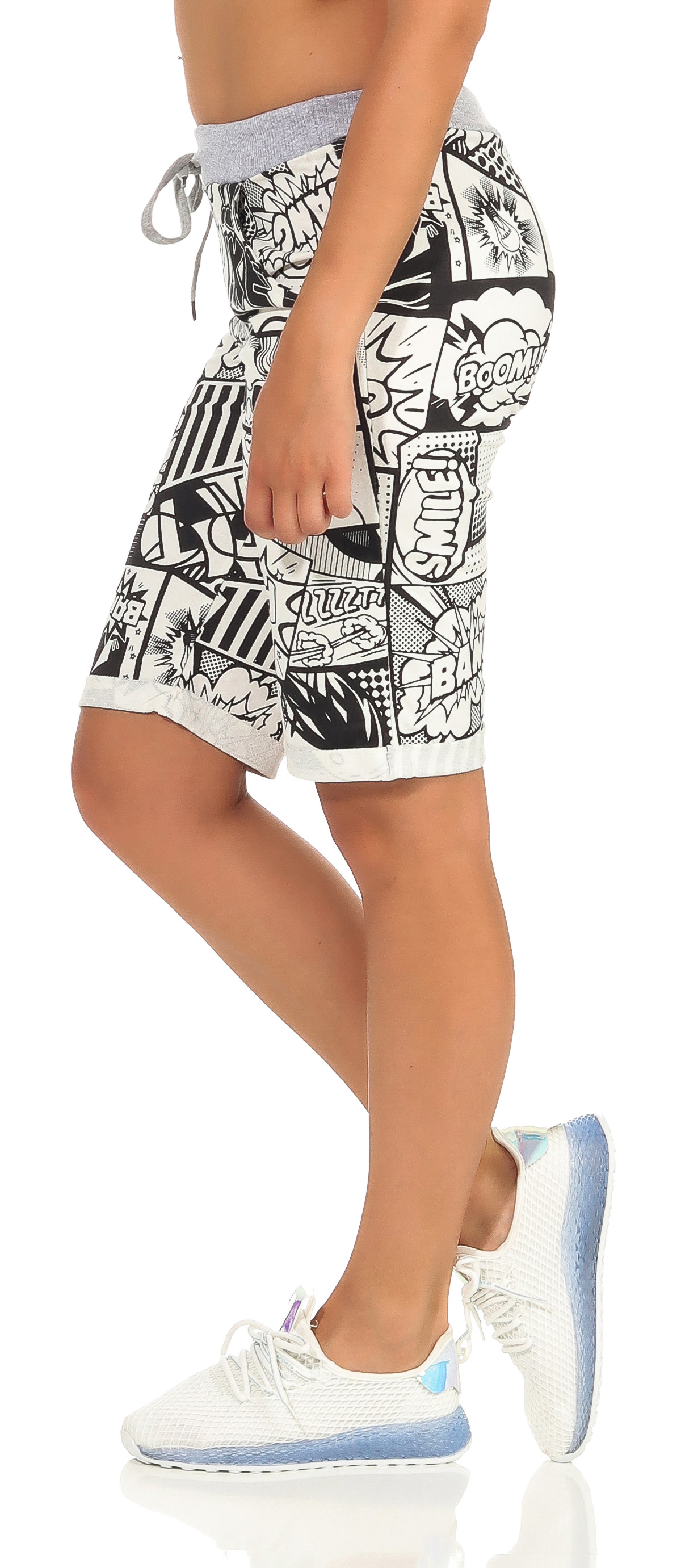 Shorts Damen Bermuda Sommer Hose Capri kurze Chino Stoffhose Fitness Jogging