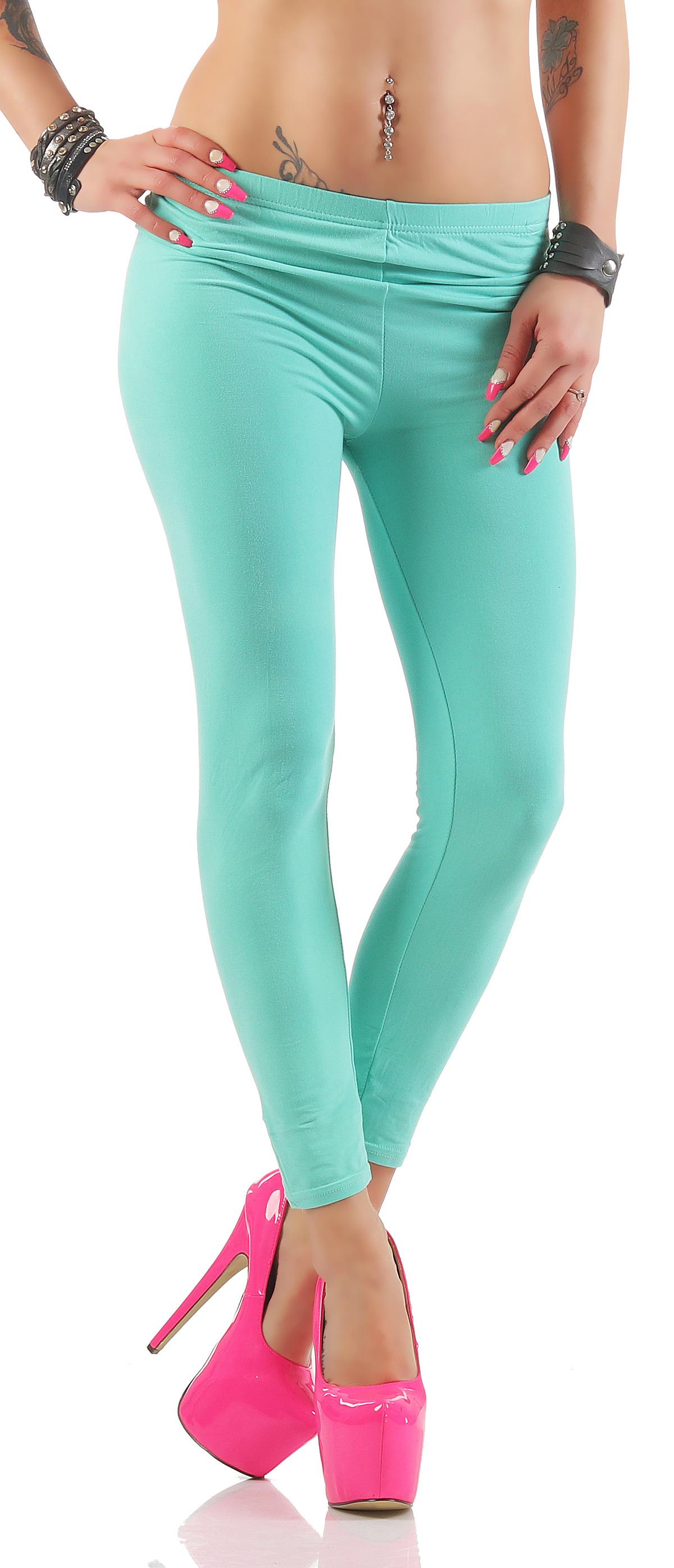 leggings damen sommerhose treggings pants blickdicht stretch unifarben cl 219 ebay. Black Bedroom Furniture Sets. Home Design Ideas