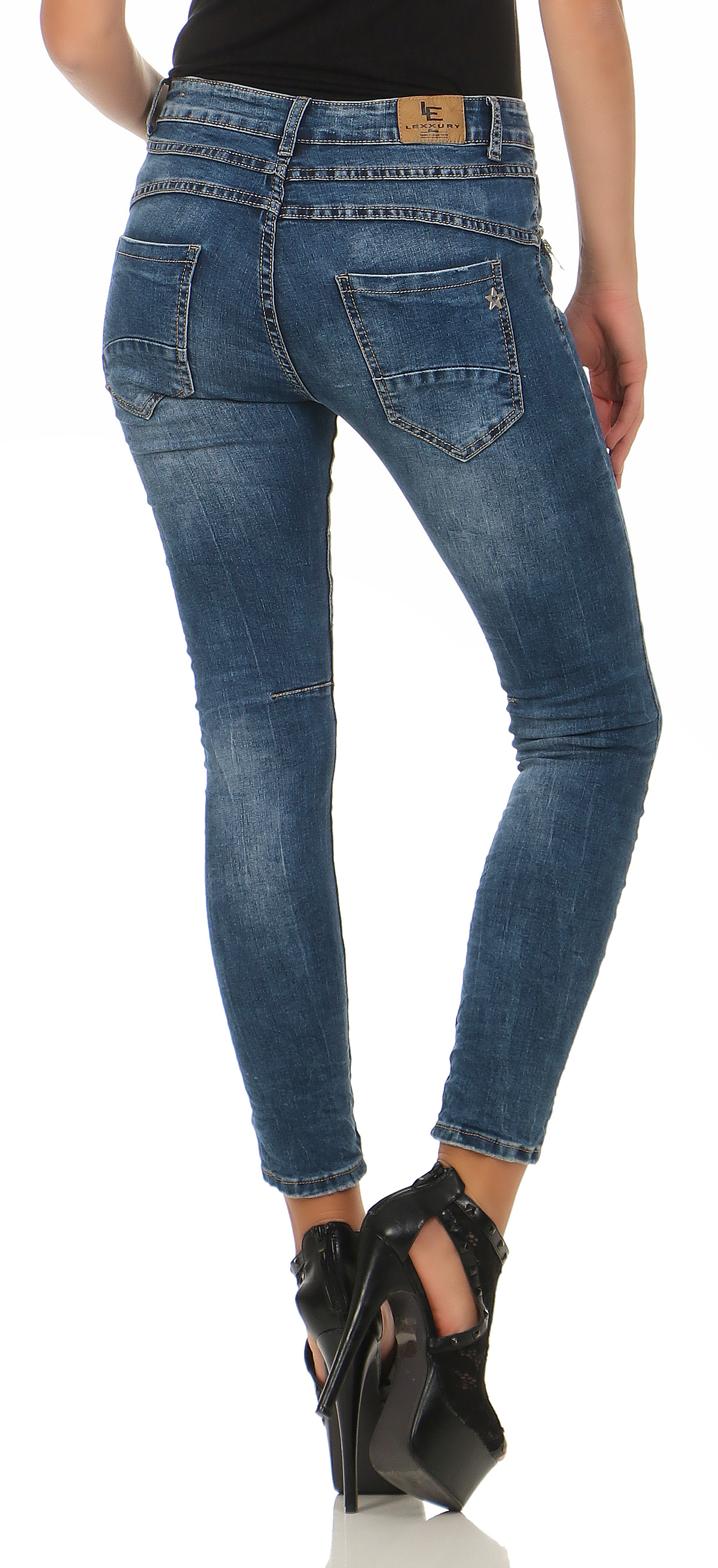 lexxury baggy damen jeans hose chino pants kn pfe boyfriend skinny cl 7192 ebay. Black Bedroom Furniture Sets. Home Design Ideas