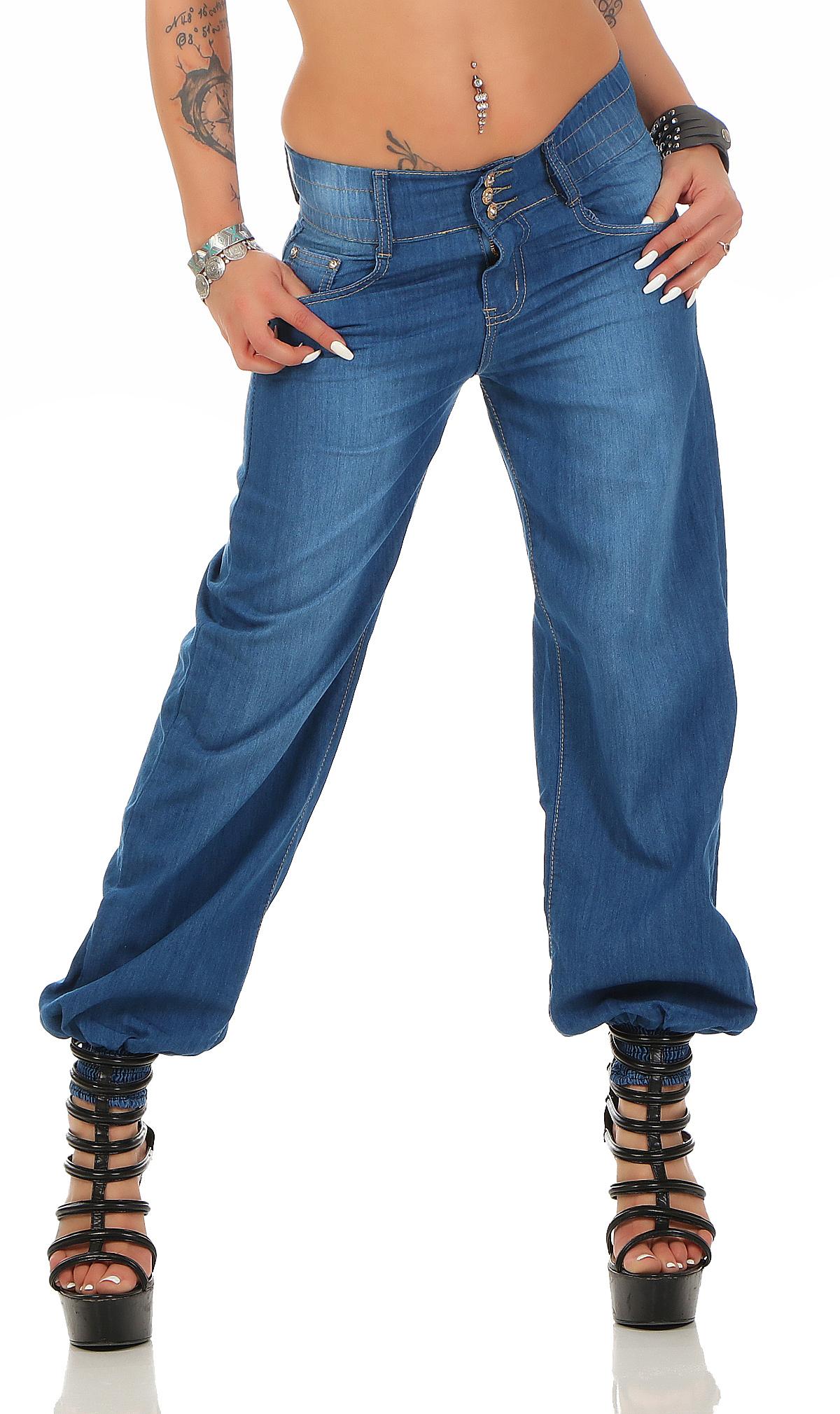 damen jeans haremshose pluderhose aladin boyfriend pants. Black Bedroom Furniture Sets. Home Design Ideas
