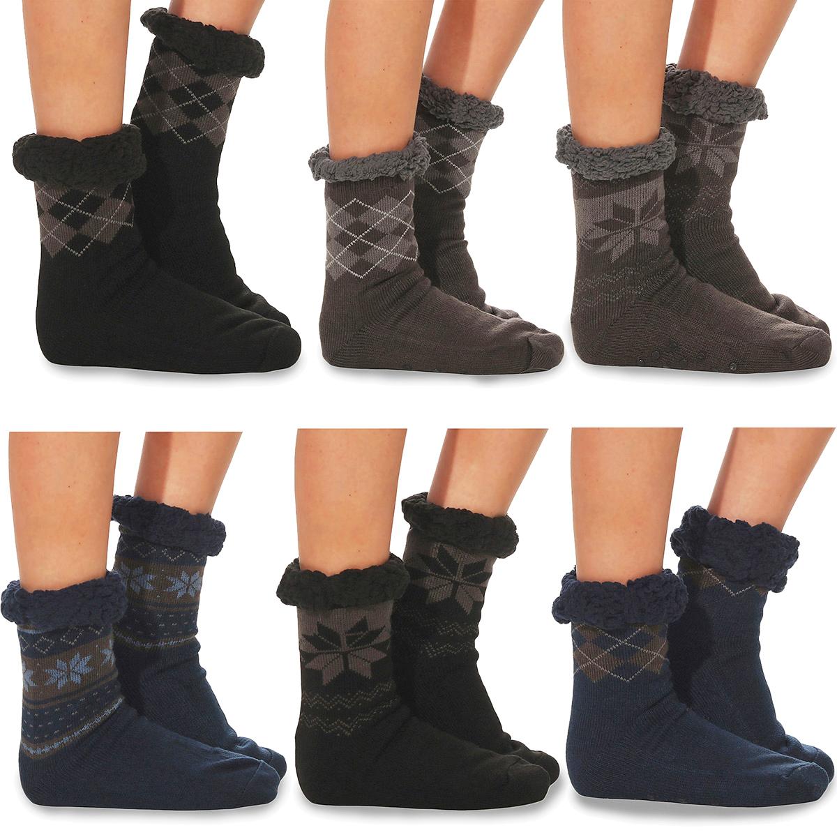 Damen Kuschel Hüttensocken Anti Rutsch ABS Socken Norweger Style blau grau neu
