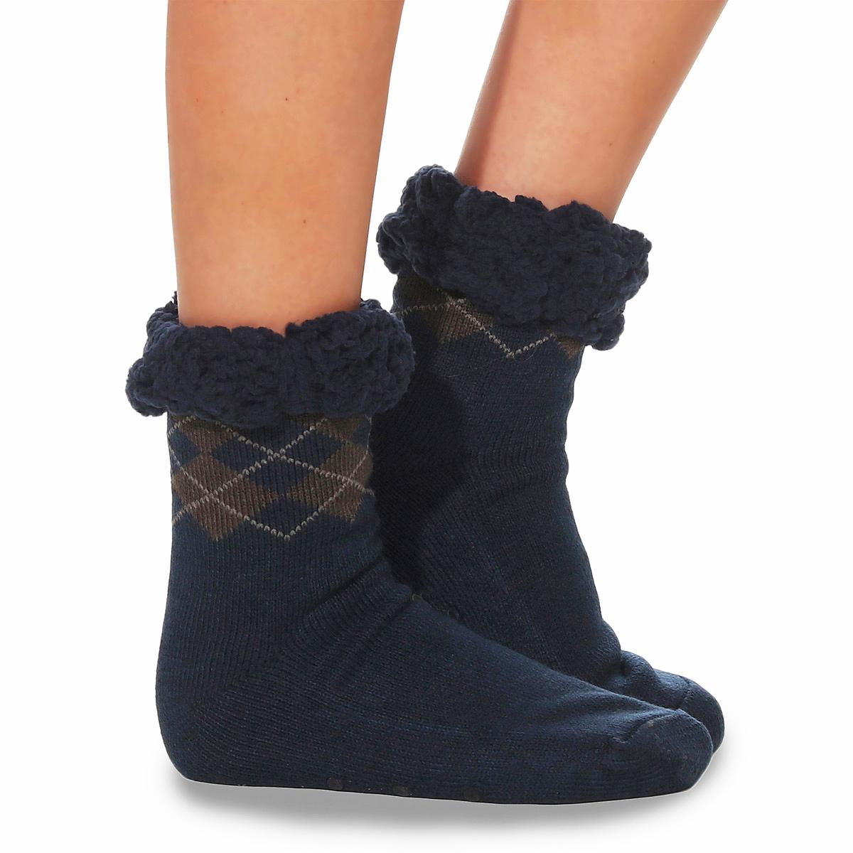 Huettensocken-Kuschelsocken-Struempfe-Herren-Hausschuhe-ABS-Pantoffeln-Fell-Warm-7