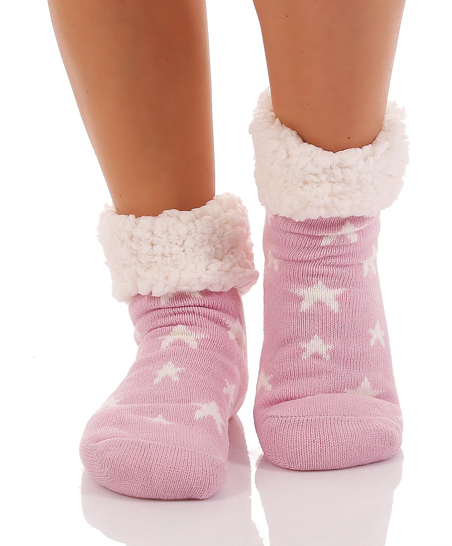 Damen Hütten Hausschuhe Hüttensocken Socken ABS Kuschelsocken CL 0276