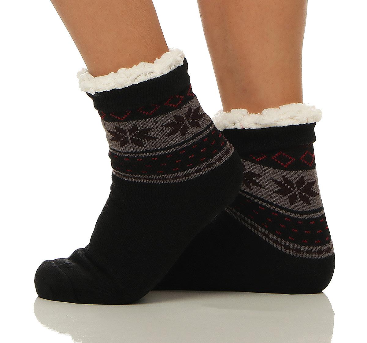 Herren Damen Hüttensocken Hausschuhe Socken Hüttenhausschuhe ABS CL 7311