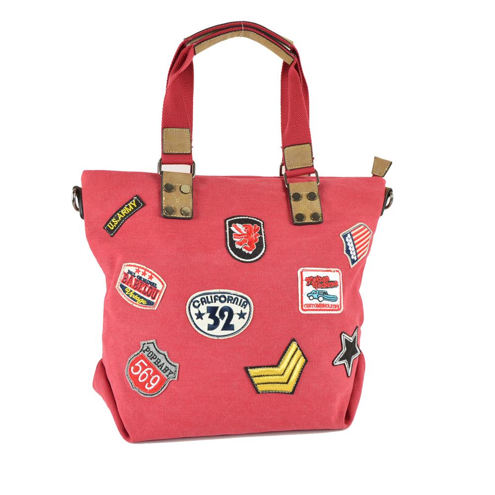 Damentasche Patches Canvas Shopper Umhängetasche Reisetasche Strandtasche CL26